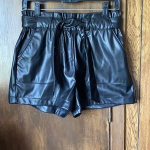 Ci Sono Faux Leather Tie Front Belted Shorts Black